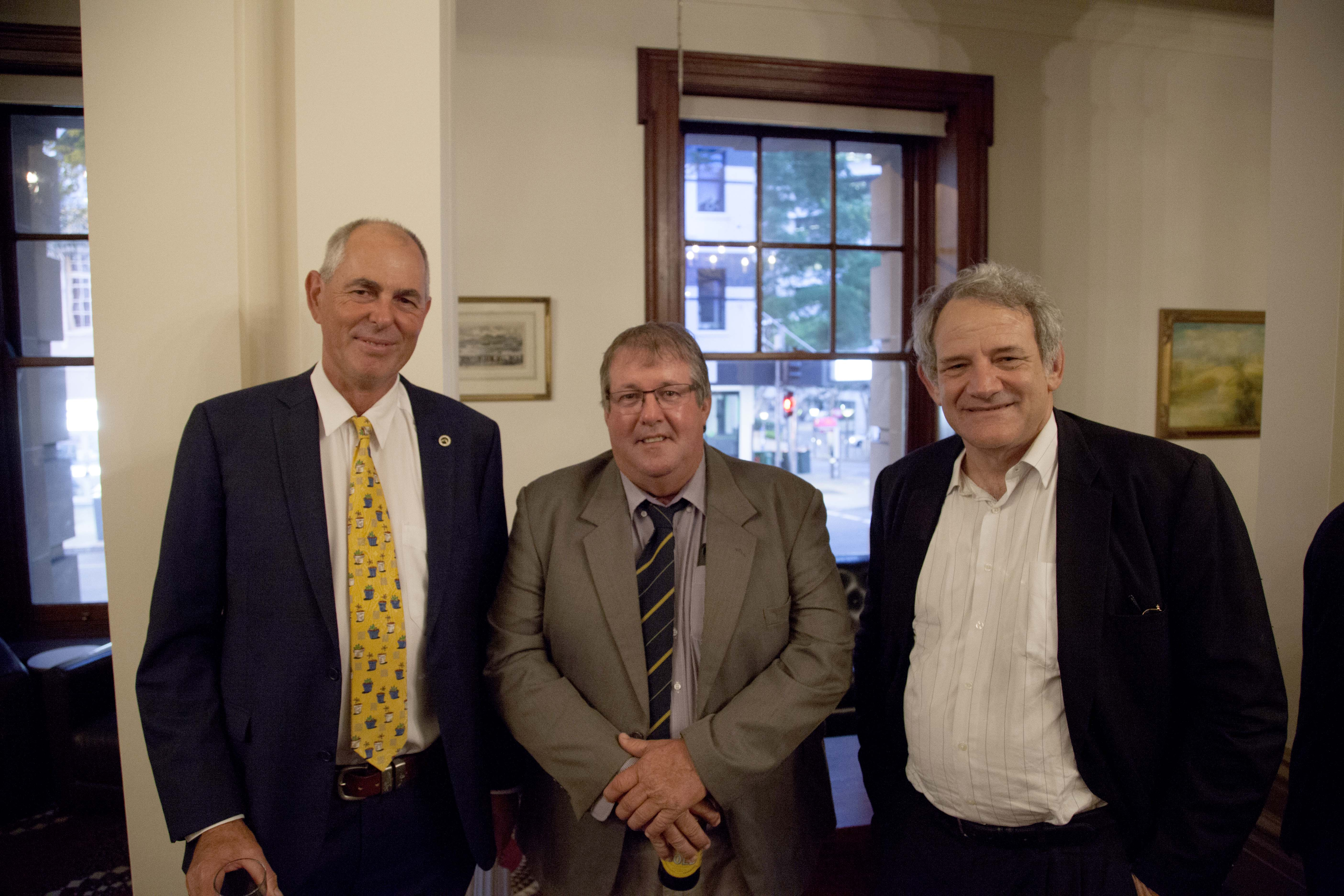QFF Director John Bunker, CANEGROWERS Vice-Chair & QFF Vice-President Allan Dingle & Chief of Staff, Office of the Hon. Annastacia Palaszczuk MP David Barbagello