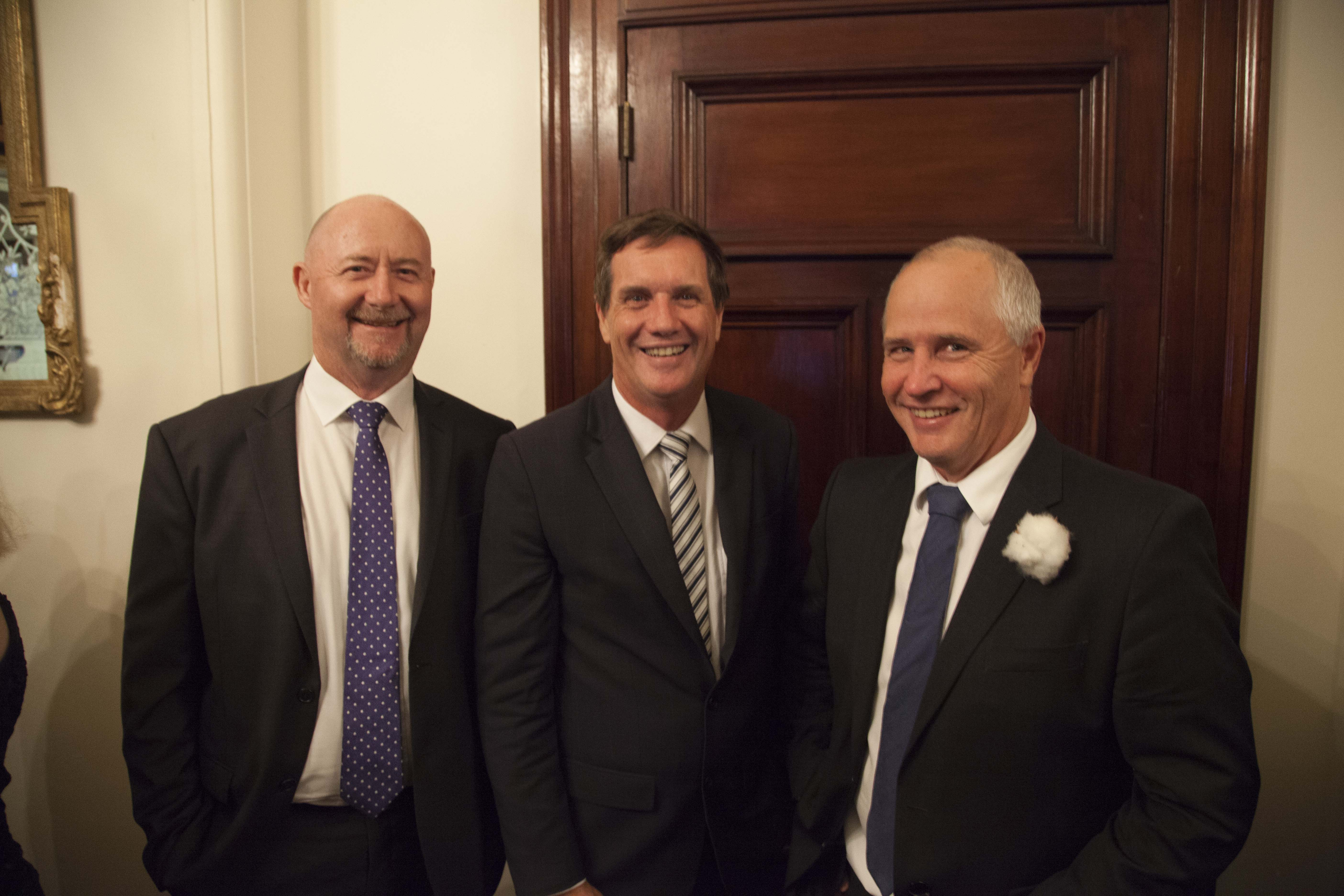 Growcom CEO Pat Hannan, Minister Anthony Lynham MP & Cotton Australia General Manager Michael Murray